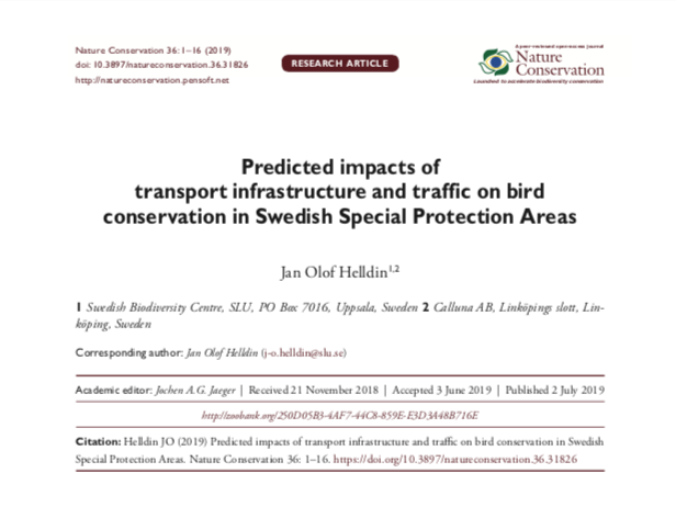 Predicted impacts of infrastructure and traffic on bird conservation in Swedish SPA